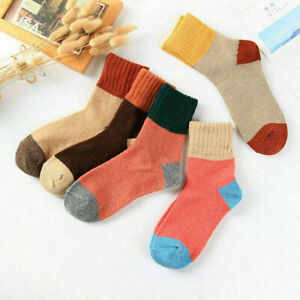 5 Pairs Women Wool Cashmere Lady Thick Winter Socks Warm Soft Solid Casual Sport