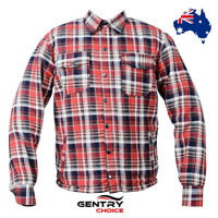 Men's Motorcycle Riding Shirt Flannel Reinforced with Kevlar® Red Black Armored