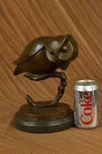 Modern Owl Statue 100 % Bronze Abstract Marble Statue Home Office Art Deco Gift