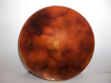 Vintage Mid Century Modern COPPER Enamel PLATE PIN TRAY Amber BROWN 4.25""