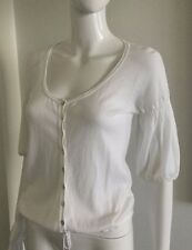 New United Colors Of Benetton Women's White Cotton Bell-Sleeve Cardigan size M
