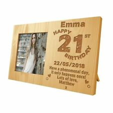 Daughters Personalised 21st Birthday Wooden Photo Frame Engraved Birthday Gift