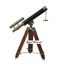 "Nautical Vintage Navy Marine 9"" Antique Telescope with Wooden Tripod Stand"