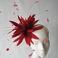 Burgundy Red Feather Fascinator for Weddings, Races and Proms