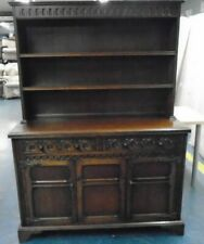 Tall Tudor Style Reproduction Dark Wood Welsh Dresser Wall Unit - CIS L39
