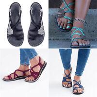 Bohemian Flat Flip Flops Sandals Casual Summer Women Bandages Beach Shoes F/1 13