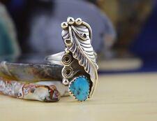 Navajo Sterling Silver Ring Long Leaf & Vines Sleeping Beauty Turquoise Sz 6 & 9