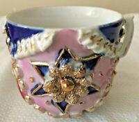 2 Vintage German Pink Lusterware Demitasse Cups W/Raised Blue Stars & Gold Edges