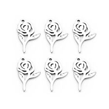 10PC Stainless Steel Rose Flower Charm Pendant 9*15mm For DIY Bracelet/Necklace