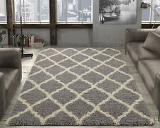 AUTHENTIC 5x7 Ottomanson Ultimate Shaggy Moroccan Trellis Shag Rug GREY