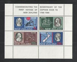 1969 NEW ZEALAND { COOKS LANDING } SOUVENIR SHEET S/S Scott Cat # 434a MNH