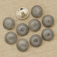 10x Sewing Metal Buttons Round Silver Bronze Flower Carved Sewing Supplies