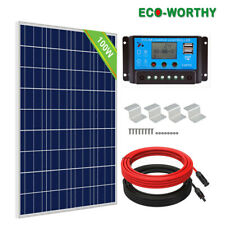 Eco 100W Watt Solar Panel Kit for 12V Battery Power Charge & Controller Home Rv