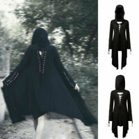 Gothic Women Long Sleeve Hooded Coat Cool Outwear Windbreaker Cosplay Costume