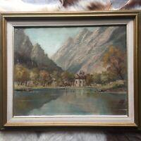 Original Vintage Oil Painting Signed by Artist Framed Matted Art Landscape Decor