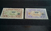 ULTRA RARE PAIR 2+5F ST.PIERRE&MIQUELON OVERPRINT 25C FRANCE COLONIES STAMP TIMB