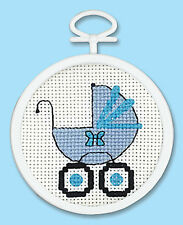 Cross Stitch Mini Kit ~ Janlynn Blue Baby Buggy Boy w/Frame #998-0012 SALE!