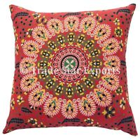 Set Of 5 Indian Mandala Cushion Cover 18x18 Decorative Square Sofa Pillow Cases