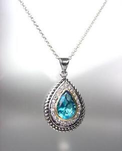 EXQUISITE 18kt White Gold Plated Cable Aqua Blue CZ Tear Drop Pendant Necklace