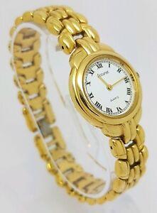 Beautiful Ladies Gold Tone Accurist White Dial Bracelet Watch SR621SW A1
