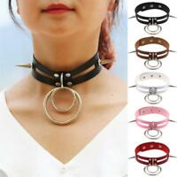 Womens PU Leather Buckle Collar Necklace Punk Gothic O-Ring Chain Rivet Choker