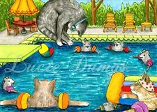 ACEO art print Cat 383 mouse pool from funny original painting L.Dumas