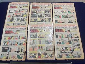 1950 NEW YORK SUNDAY NEWS COLOR COMICS SECTIONS - LOT OF 6 - NP 5191