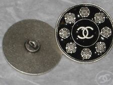 CHANEL 1 METAL CC LOGO FRONT CAMELLIA FLOWER BLACK BUTTONS  18 MM /  3/4''