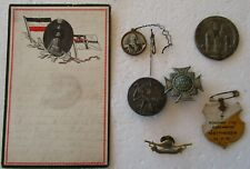 WWI Kaiser Time 1 Patriotic  Field post card + 7 Badges from  German Soldiers