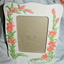 """Estate 8 x 9-1/2 resin frame with Lillies on both sides, holds 4-1/2 x 6-1/2"""""""