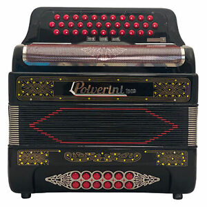 Polverini 34 Button 12 Bass 3 Switches Button Accordion GCF Black and Red