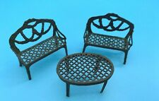 DOLLS' HOUSE MINIATURES - TWO VINTAGE METAL SOFAS & OVAL TABLE
