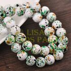 Hot 30pcs 10mm Round Loose Glass Spacer Beads Findings White Colorized Dots