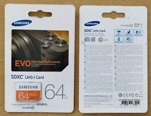 Genuine Samsung EVO 64GB SD Card CID Changeable new Made in Korea, MB-SP64D/EU