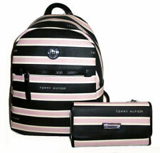 Tommy Hilfiger Black and Pink Stripe Coated Canvas Small Backpack & Wallet Set