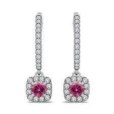 1 Carat Pink SI2 RD Valentine Day Special Hoop Huggies Women Pair Earring 14K WG