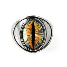 Snake Eye Sci-fi Taxidermy Dragon Eyeball Silver Glass Ring
