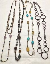 """Lia Sophia Cut Crystals, Turquoise, Bead Copper 24-39"""" Long Necklaces Lot Of 4"""