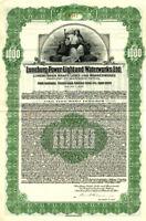 Lüneburg Kraft- Licht- und Wasserwerke unc Gold $ bond 1928 + Kupons germany