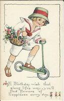 AI-041 - Birthday Wish, (Boy on Scooter), 1907-1915 Golden Age Postcard Vintage
