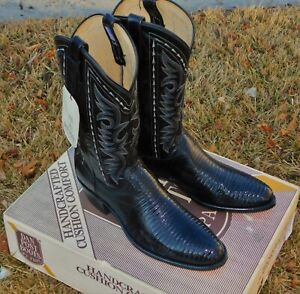 New Deadstock Dan Post Lizard 11D Never Worn Old School Boot Making Tags and Box