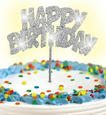 Cake Topper Silve Glitter HAPPY BIRTHDAY LED Flashing Decoration FREE SHIPPING!!