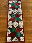 Christmas Stars Cranberry Red Green Poinsettias Quilted Table Runner Handmade