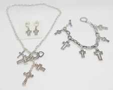 MULTI-CROSS CHARMS TOGGLE NECKLACE, EARRINGS & BRACELET SET - FILIGREE STYLE