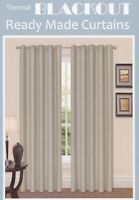 Thermal Ring Top Eyelet Blackout Pair Curtains Ready Made Free Tiebacks Cream