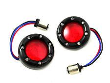 Black LED Turn Signal Bezel with Red Lens For Harley-Davidson