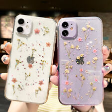 For iPhone 12 Pro Max 11 XS XR X 8 7 Plus Real Dried Flower Clear TPU Case Cover