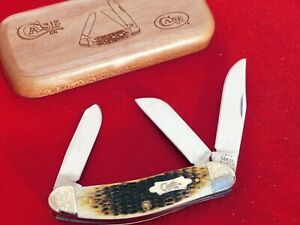 Case XX USA mint in wood box engraved bolsters sowbelly bone 2003 knife