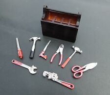 1/18 Scale 9 Piece Diecast Tool Set w Stained Wood Tool Box Diorama Accessories