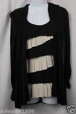 "INC International Concepts ""Boro"" Black/Tan Long Sleeve Blouse Size XS RET $69"